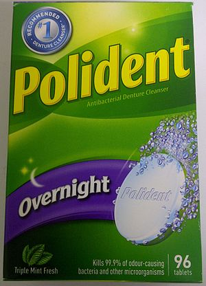 Denture cleaner - Box of Polident overnight denture cleaner in tablet format