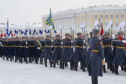 Personnel from the 154th Preobrazhensky Independent Commandant's Regiment on Palace Square, 27 January 2019. PARAD LENINGRAD 2019 02.jpg