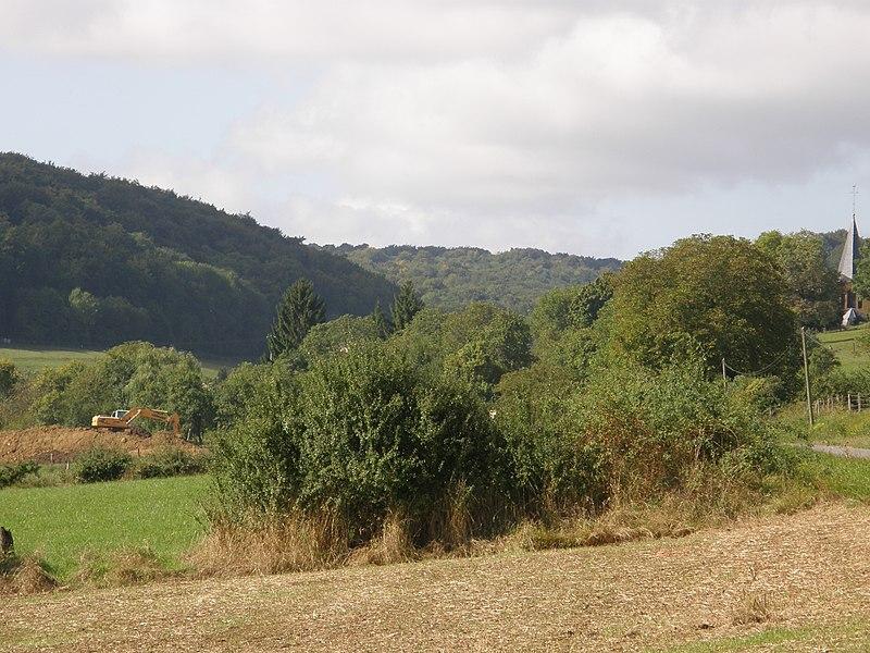 Réville (Meuse). Travaux de terrassement en vue de la construction d'une maison individuelle. Gaspillage des terres agricoles et dégradation du paysage. Vue de la pelleteuse depuis la route de Peuvillers.