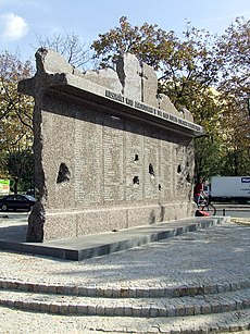 Memorial to the Wola massacre, the systematic killing of around 40,000–50,000 Polish civilians by Nazi German troops during the Warsaw Uprising of summer 1944