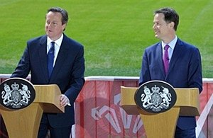 Conservative–Liberal Democrat coalition agreement - David Cameron and Nick Clegg at the Millennium Stadium, Cardiff on 27 February 2015