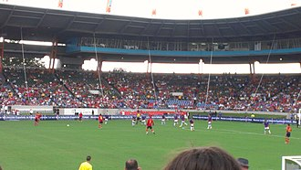 Puerto Rico national football team - Puerto Rico (in blue) playing Spain in 2012.