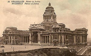 Palais de Justice, Brussels - Depiction of the Palais on a pre-1944 postcard. Note the lower dome