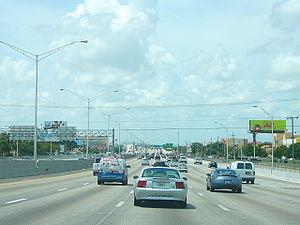 Florida State Road 826 - The Palmetto Expressway northbound near Hialeah in metropolitan Miami