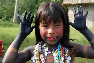 Panama - Embera girl dressed for a dance