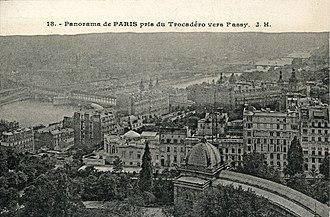 Passy, Bridges of Paris - Panorama of Paris, view from the Trocadéro towards Passy (postcard early 1900s)