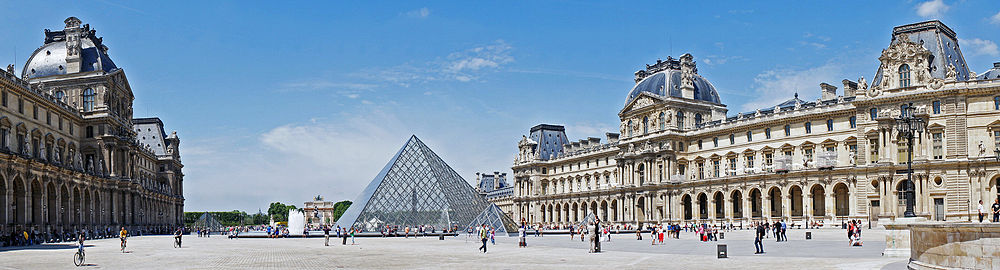 Louvre Museum and Napoléon Courtyard, Paris, France.