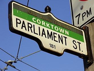 Parliament Street (Toronto) - Image: Parliament Street Sign