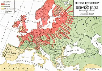 "Aryan - Madison Grant's vision of the distribution of ""Nordics"" (red), ""Alpines"" (green) and ""Mediterraneans"" (yellow)."