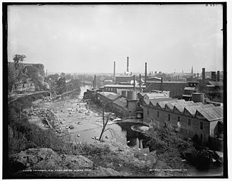 1913 Paterson silk strike - Paterson, New Jersey with the textile mills on the right circa 1906.