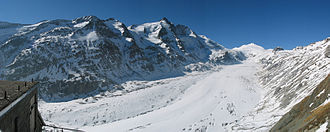 Glockner Group - The Pasterze with the Großglockner (centre) and the Johannisberg (centre right rear)