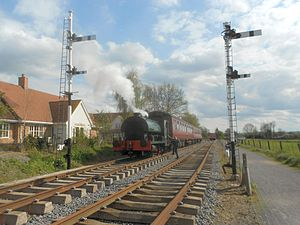 Boughton railway station - Peckett steam locomotive at the site of Boughton station in May 2012