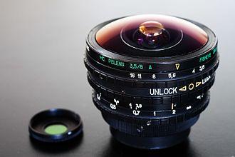 Fisheye lens - A Peleng 8mm circular fisheye lens.
