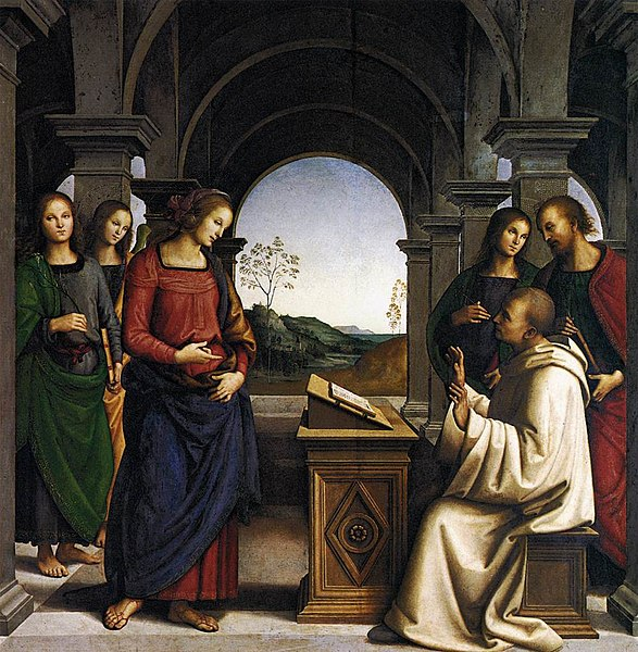 Archivo: Perugino, apparizione della Vergine un san bernardo, monaco.jpg