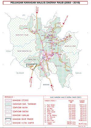 Raub, Pahang - Map of Raub District Council