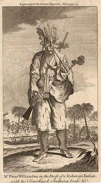 """Peter Williamson (memoirist) - """"Indian Peter"""" dressed as a Delaware Indian"""