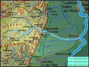 Speyerbach - Image: Pfaelzerwaldkarte Flussgebiete Speyerbach