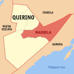 Map of Quirino with Maddela highlighted
