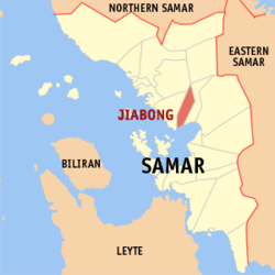 Map of Samar with Jiabong highlighted