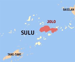 Jolo - Location within Sulu province
