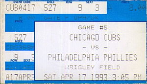 1993 Philadelphia Phillies season - A ticket for a  1993 game between the Philadelphia Phillies and the Chicago Cubs.