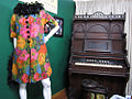 Phyllis Diller stage costume and pump organ at the Alameda Museum, California.jpg