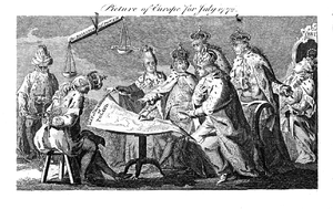 First Partition of Poland - Picture of Europe for July 1772, satirical British plate