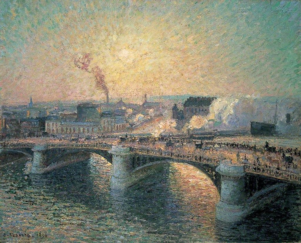 """""""Pont Boieldieu in Rouen"""" by Camille Pissarro"""