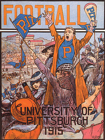 Cheering on the Pitt football team has traditionally been one of the most celebrated activities at the university, as depicted in this cover art from a 1915 game program. PittFootball1915program.jpg