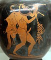 Pittore terpaulus, oinochoe coin satiro itifallico che suona il doppio flauto, 500 ac., dalla tomba presso quella delle 5 sedie alla banditaccia, 02.jpg