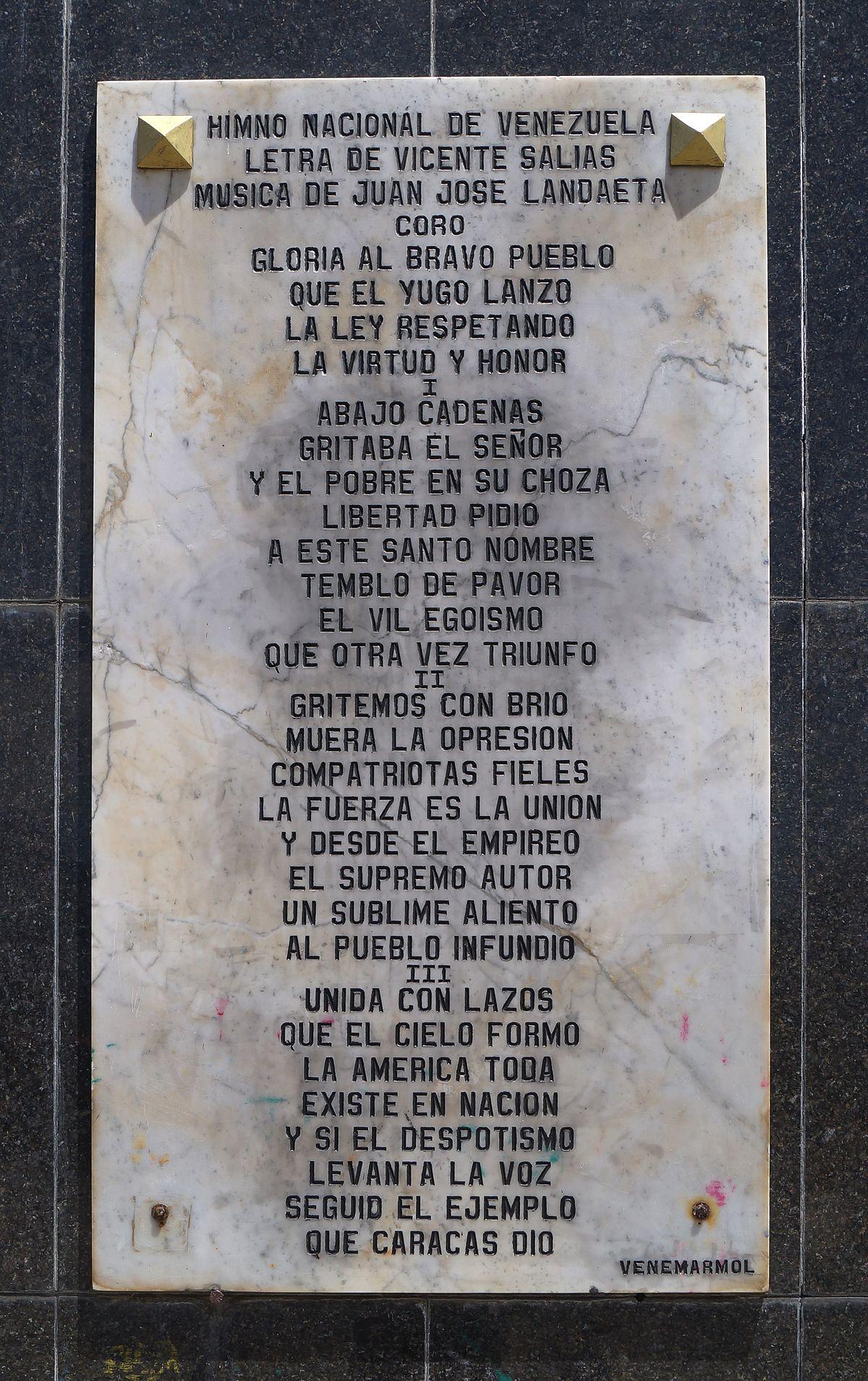 Gloria al Bravo Pueblo  Wikipedia la enciclopedia libre