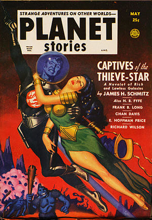 """James H. Schmitz - Schmitz's novelette """"Captives of the Thieve-Star"""" was the cover story in the May 1951 issue of Planet Stories"""