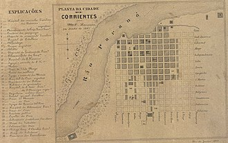 Corrientes - Plan of the city of Corrientes in June 1867.