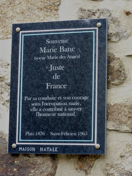 Plaque commémorative : Marie-France Banc