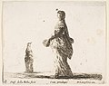 Plate 18- a noblewoman walking towards the left with a feathered fan, another woman in background to left, from 'Diversi capricci' MET DP817346.jpg