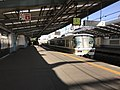 Platform of Bentencho Station and train of Osaka Loop Line 3.jpg