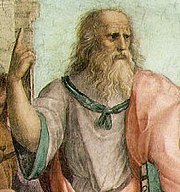 Raphael's Plato in The School of Athens fresco, probably in the likeness of Leonardo da Vinci. Plato gestures to the heavens, representing his belief in The Forms.