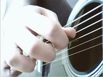 Flatpicking - Image: Playing guitar with pick