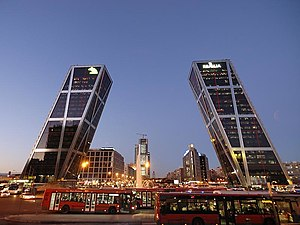 Madrid bid for the 2020 Summer Olympics - The Puerta de Europa buildings at Plaza de Castilla