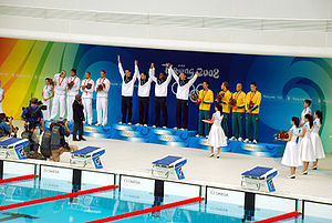 Swimming at the 2008 Summer Olympics – Men's 4 × 100 metre freestyle relay - Image: Podium 4x 100m Beijing