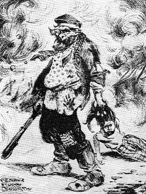 Białystok pogrom - Pogrom caricature by Henryk Nowodworski. Note the assailant wearing a Tsarist army hat with a cockade sideways.