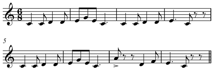 "This melody for the traditional song ""Pop Goes the Weasel"" is monophonic as long as it is performed without chordal accompaniment. Play (help*info) Pop Goes the Weasel updated.png"