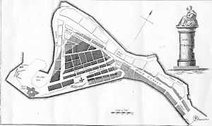Port Royal - Old map of Port Royal. Light section at top and going down toward the right is the part of the city lost in 1692 earthquake; slightly shaded middle section part of city that was flooded; darkly shaded bottom section is part of city that survived