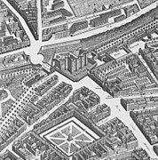 Porte Sainte-Antoine on 1739 Turgot map Paris - KU 06.jpg