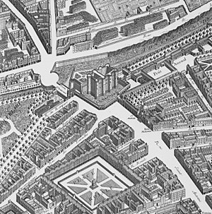 Porte Saint-Antoine - View of the porte Saint-Antoine and the Bastille (detail from Turgot's 1739 map of Paris)