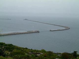 Harbour beside the Isle of Portland, off Dorset