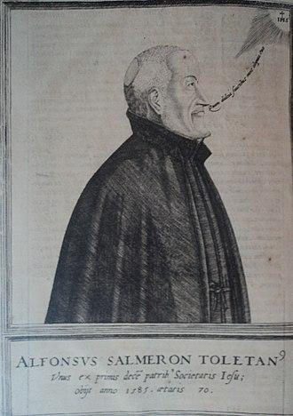 "Alfonso Salmeron - Portrait of Alfonso Salmerón, Jesuit, found in the 1602 edition of Salmerón's commentary on the Gospel (""Commentarii in Evangelicam Historiam et in Acta Apostolorum"")."