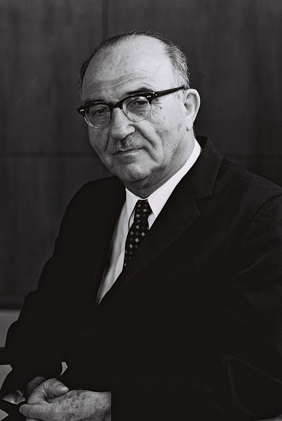 Portrait of prime minister Levy Eshkol. August 1963. D699-070