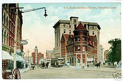 PostcardBank&MainStsStamfordCt1911