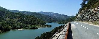 Lim (river) - Potpeć Reservoir and road Prijepolje-Priboj